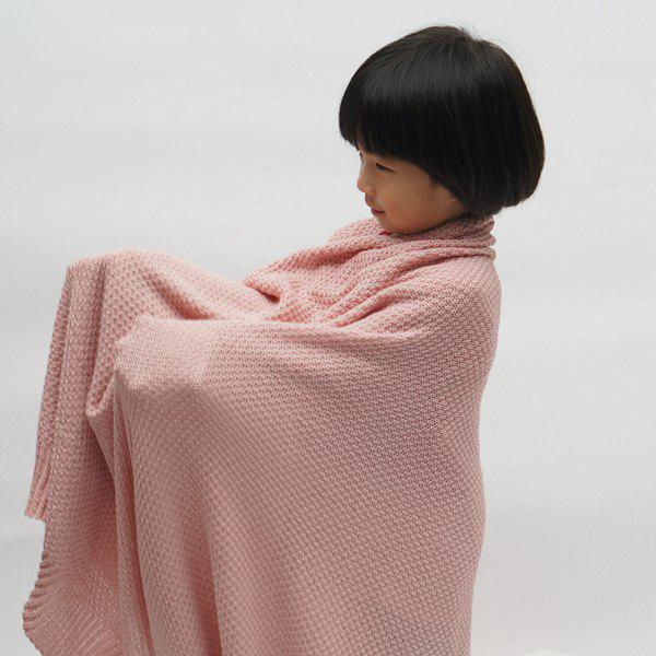 Fashionable Solid Color Cotton Knitted Summer Blanket For kids - PINK