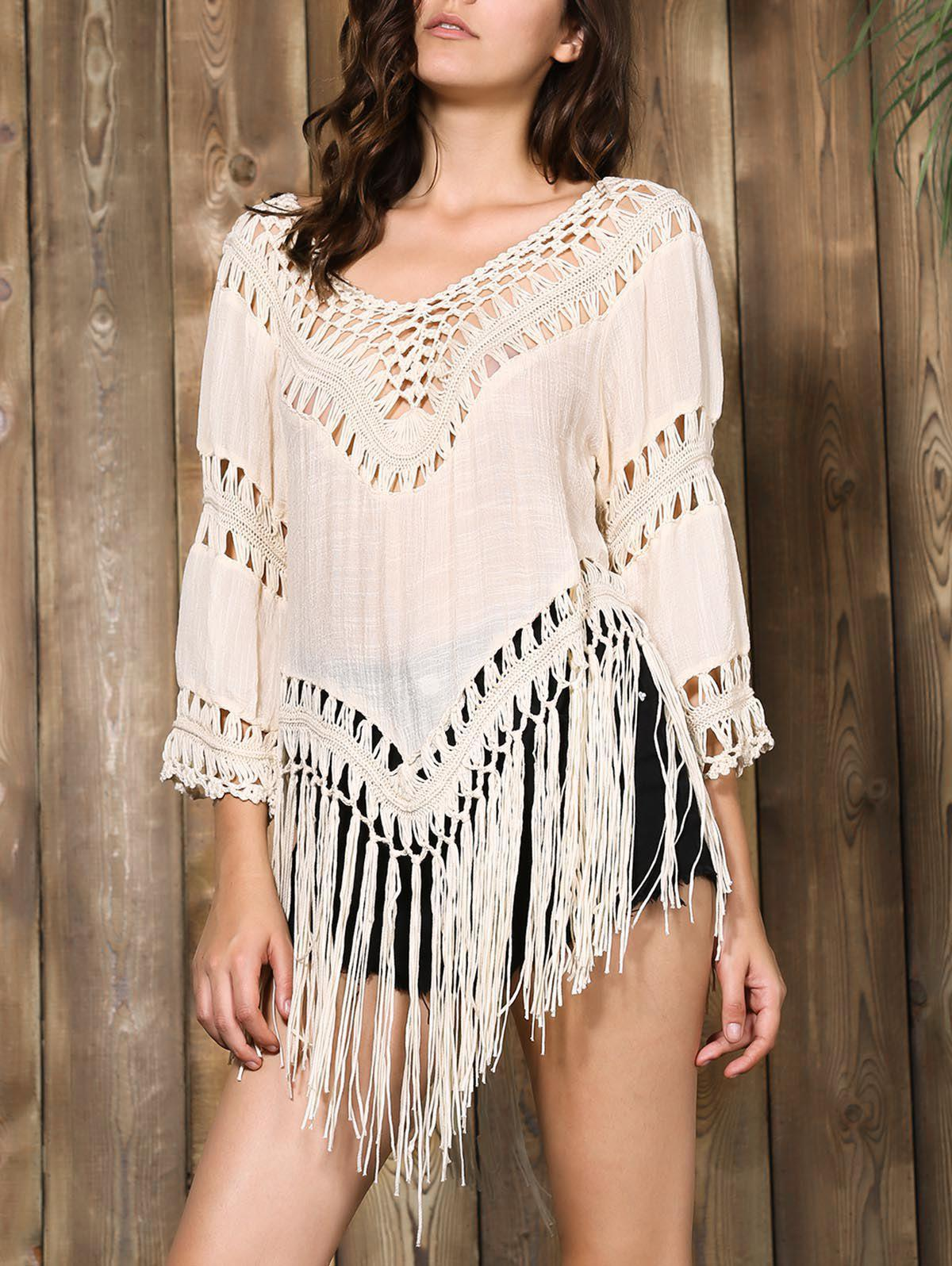 Stylish V-Neck Hollow Out Tassel Spliced 3/4 Sleeve Women's Blouse - APRICOT ONE SIZE(FIT SIZE XS TO M)