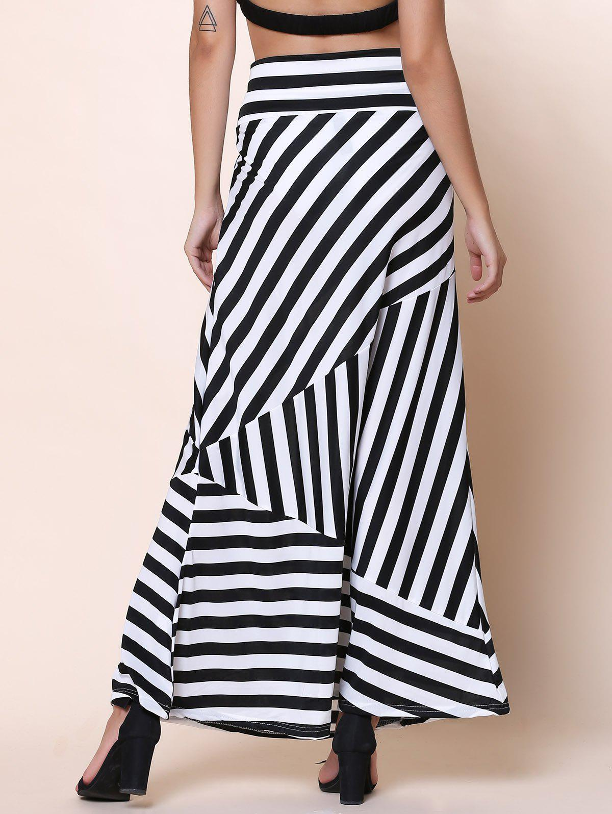 Sexy Mid-Waisted Striped Spliced Women's Skirt - BLACK XL
