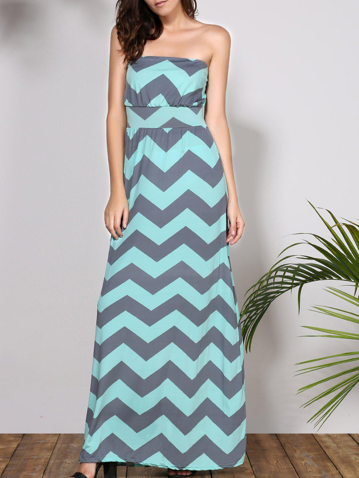 Bohemian Style Sleeveless Strapless Striped Women's Dress - LIGHT BLUE L