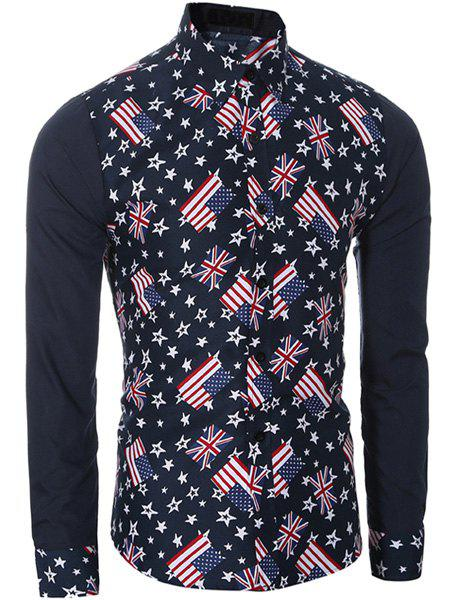 American Flag and Union Jack Print Shirt Collar Long Sleeves Men's Slimming Shirt - CADETBLUE 2XL