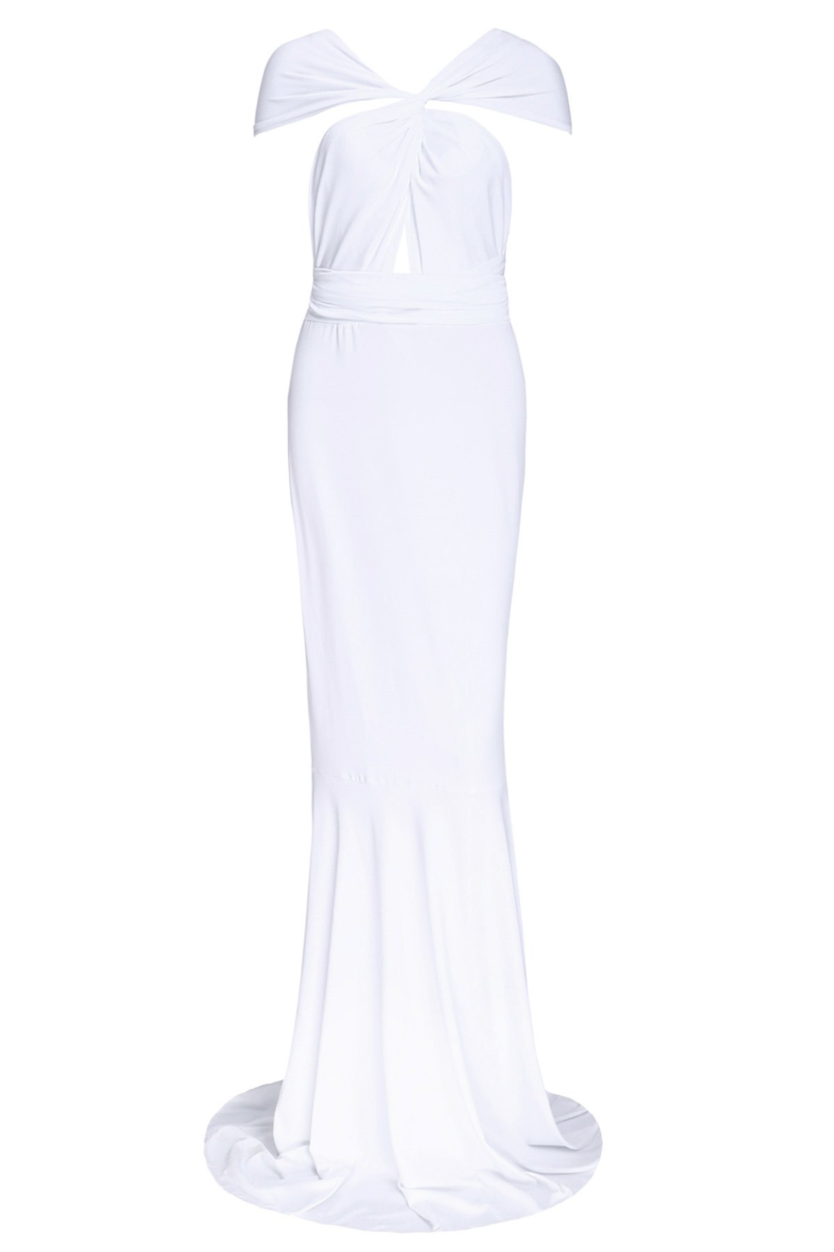 Sexy Women's Plunging Neck White Dress - WHITE S