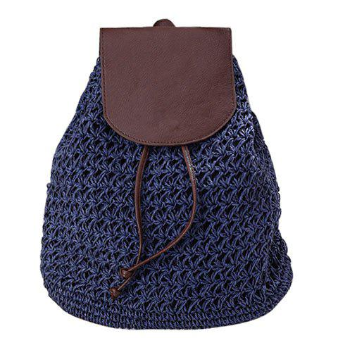 Leisure Weaving and Straw Design Women's Satchel - BLUE