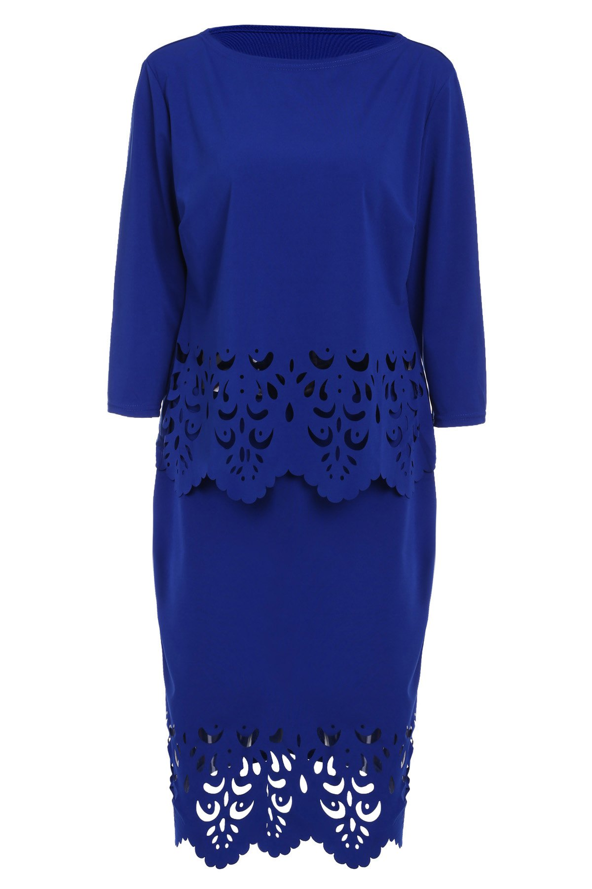 Chic 3/4 Sleeve Round Neck T-Shirt + Cut Out Skirt Women's Twinset - SAPPHIRE BLUE L