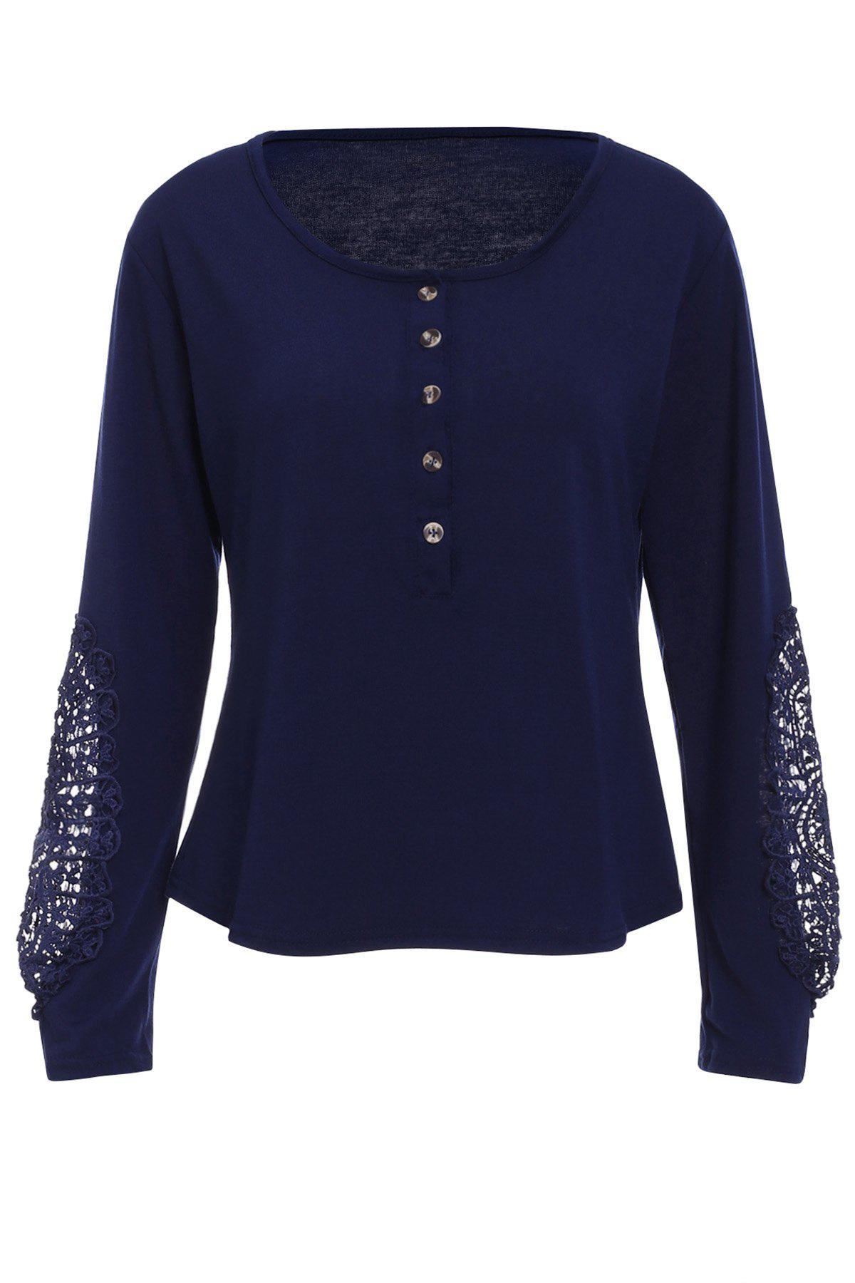 Casual Lace Splicing Scoop Neck Long Sleeve T-Shirt For Women - DEEP BLUE S