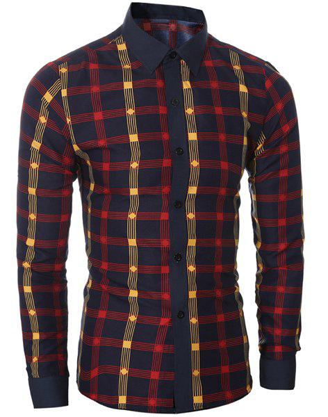 Classic Color Block Shirt Collar Long Sleeves Slimming Men's Plaid Shirt - RED M