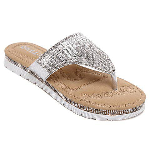 Leisure Rhinestones and Flat Heel Design Women's Slippers - SILVER 40