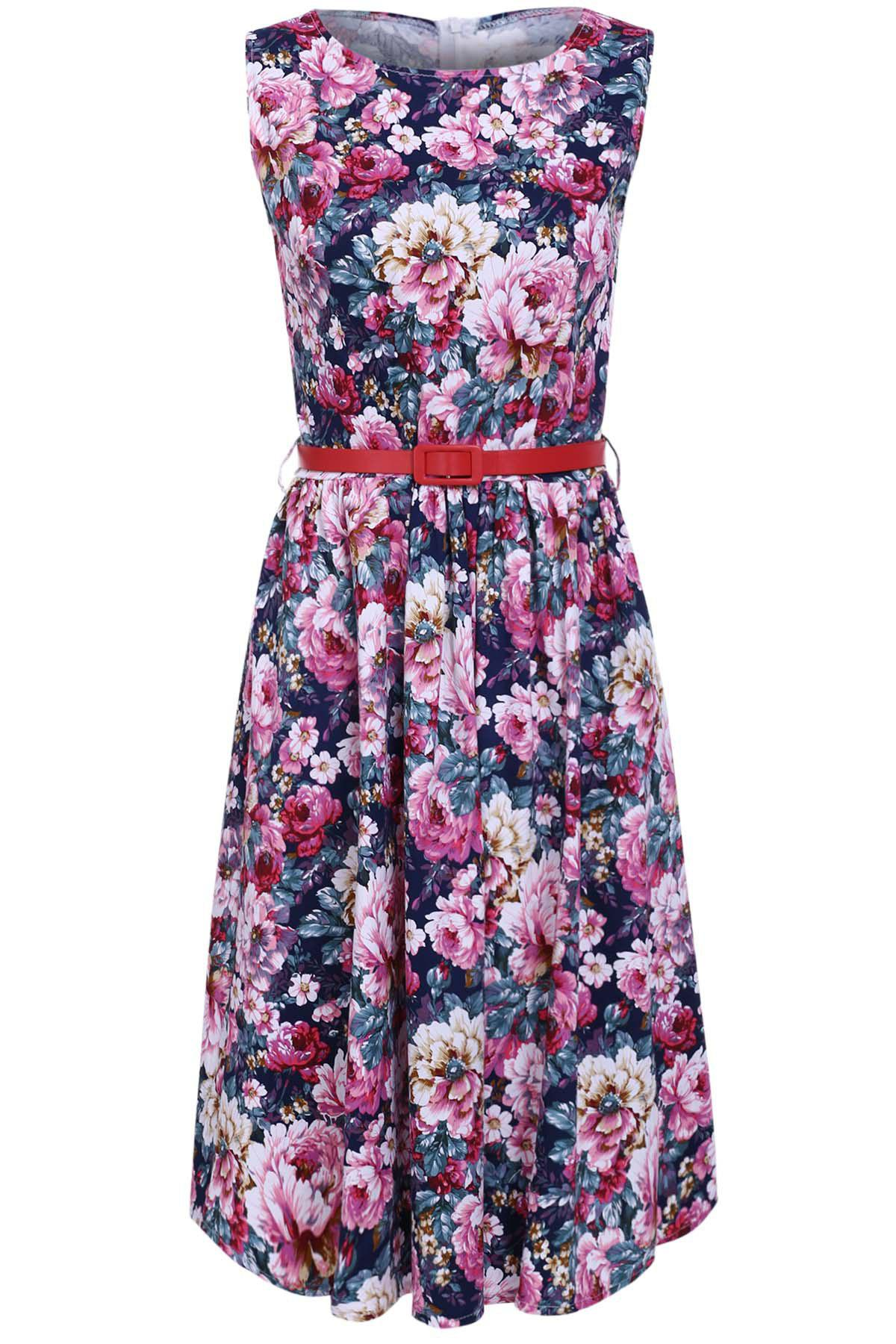 Retro Style Boat Neck Floral Print High Waist Ball Dress For Women - PURPLISH BLUE M