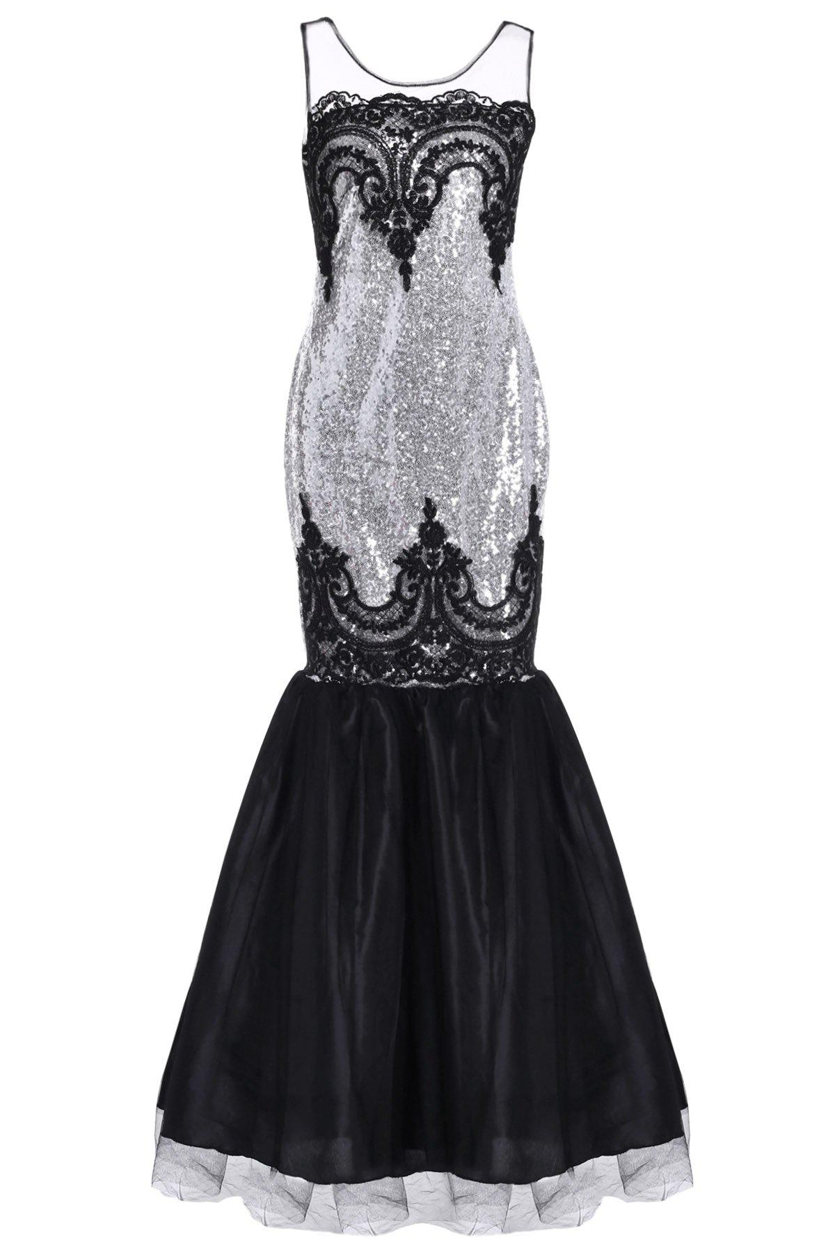 Noble Sleeveless Round Neck Sequined See-Through Women's Fishtail Dress