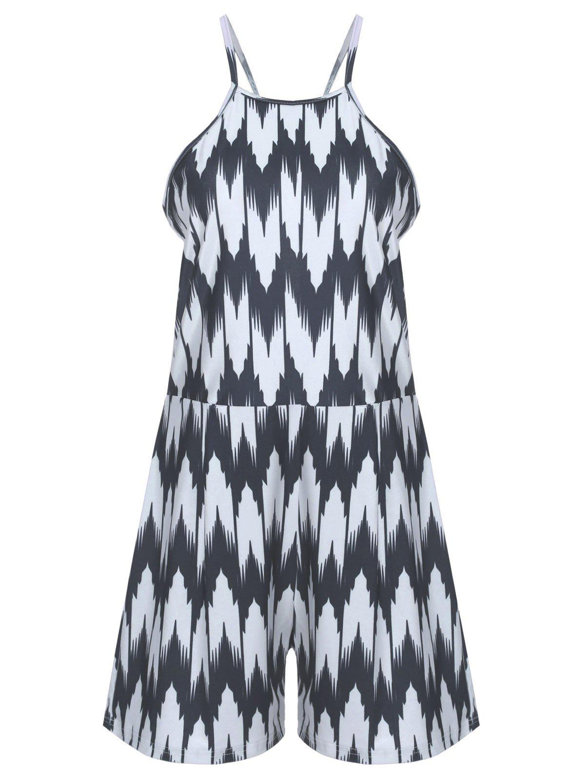 Trendy Abstract Printed Loose Romper For Women - BLACK XL