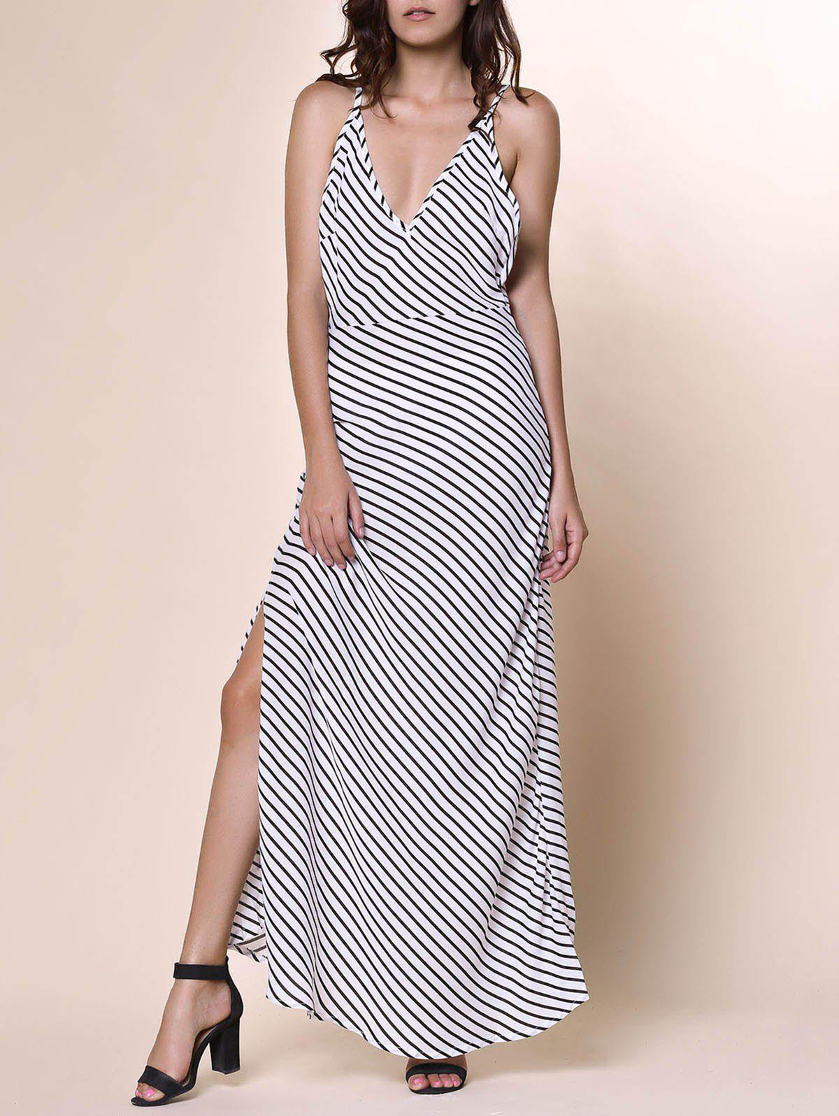 Bohemian Women's Plunging Neckline Striped Backless Dress - WHITE S