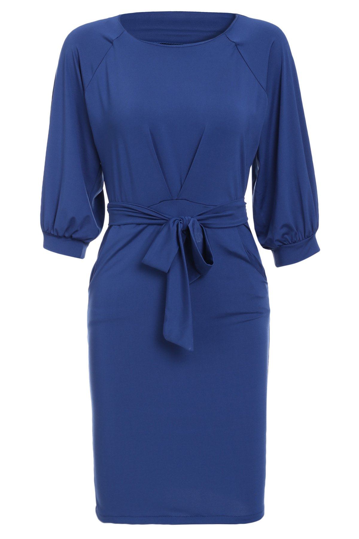 Vintage Solid Color Puff Sleeve Waist Lace-Up Dress For Women - DEEP BLUE S