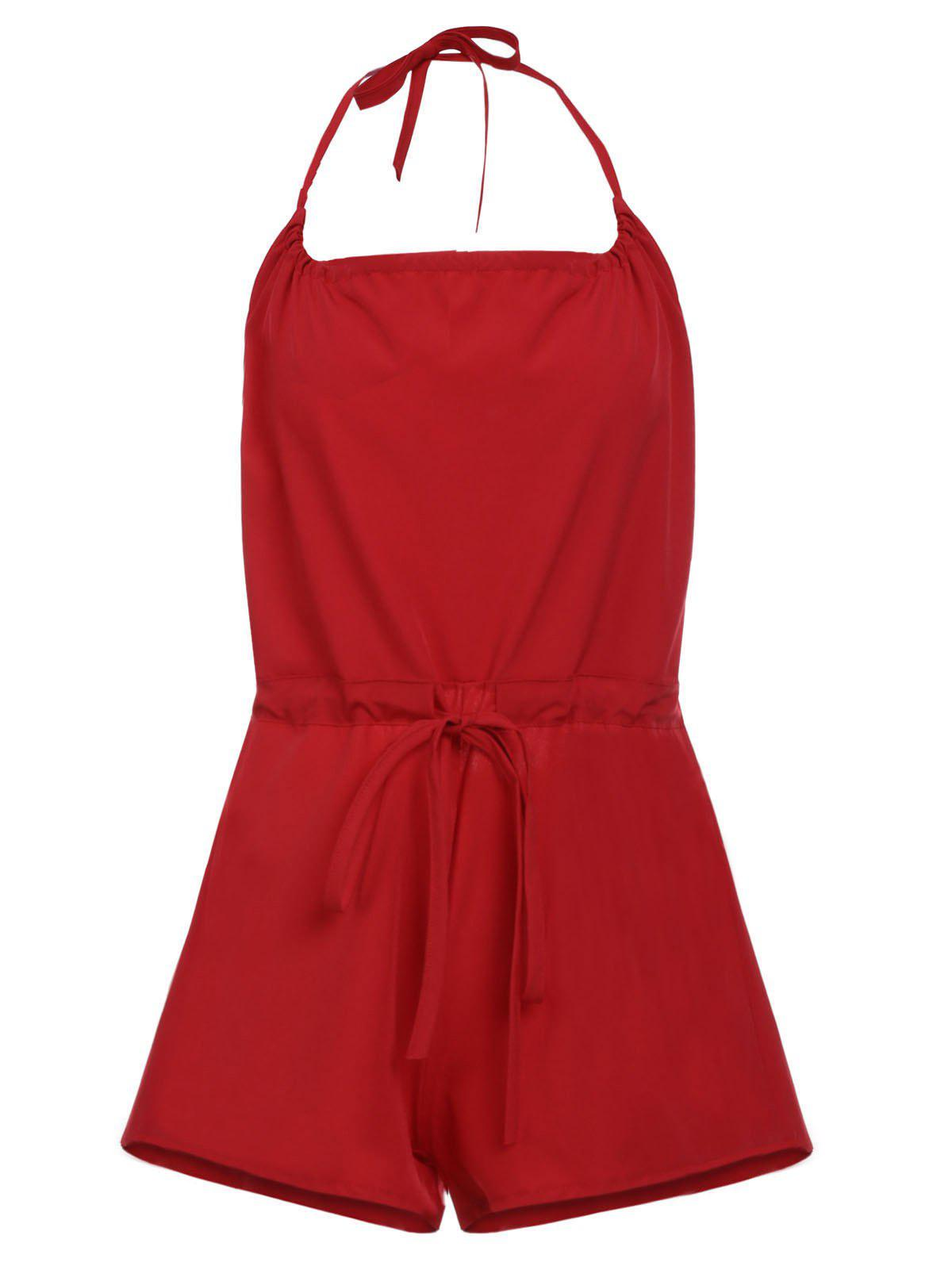 Trendy Sleeveless Halter Lace-Up Backless Pure Color Women's Romper