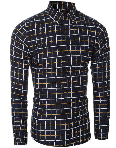 Vogue Shirt Collar Classic Check Pattern Long Sleeves Men's Slim Fit Shirt - YELLOW L
