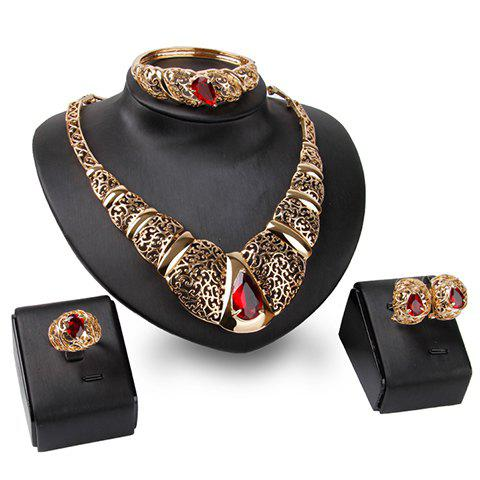 A Suit of Hollow Out Faux Ruby Necklace Bracelet Ring and Earrings - GOLDEN ONE-SIZE