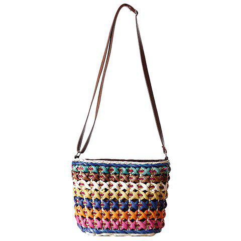 Casual Color Matching and Weaving Design Women's Crossbody Bag - BLUE