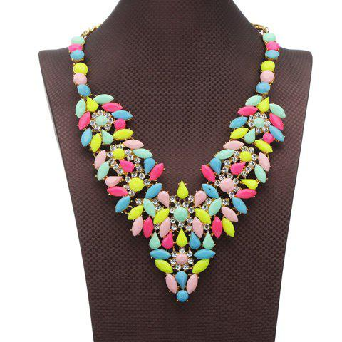 Flowers Rhinestoned Oval Necklace - COLORMIX