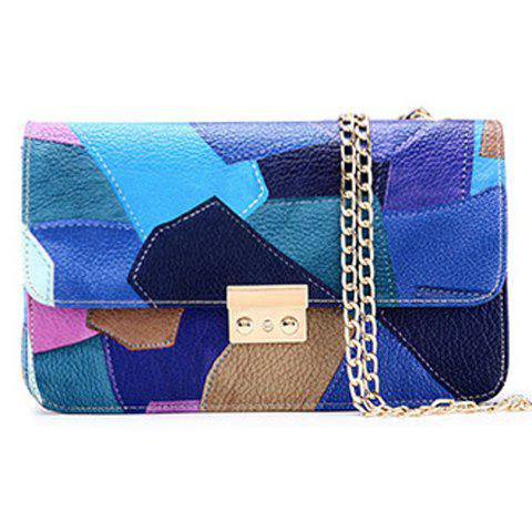 Fashion Chain and Patchwork Design Women's Crossbody Bag - BLUE