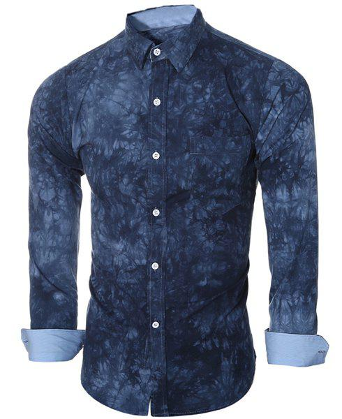 Abstract Tie-dye Patter One Pocket Shirt Collar Long Sleeves Men's Slim Fit Shirt - BLUE M