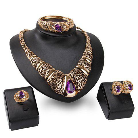 A Suit of Faux Amethyst Necklace Bracelet Ring and Earrings - GOLDEN ONE-SIZE