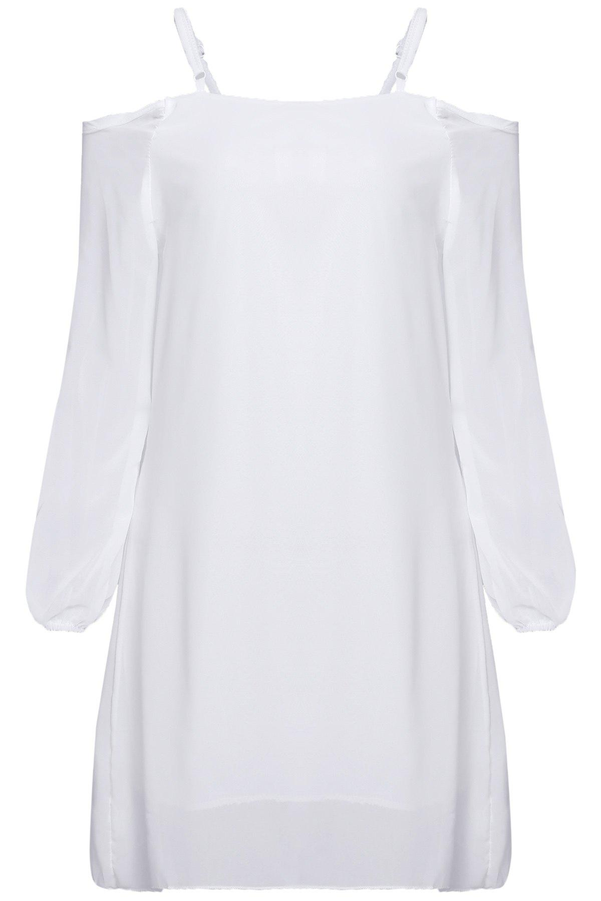 Long Sleeve Cold Shoulder Tunic Shift Dress - WHITE S