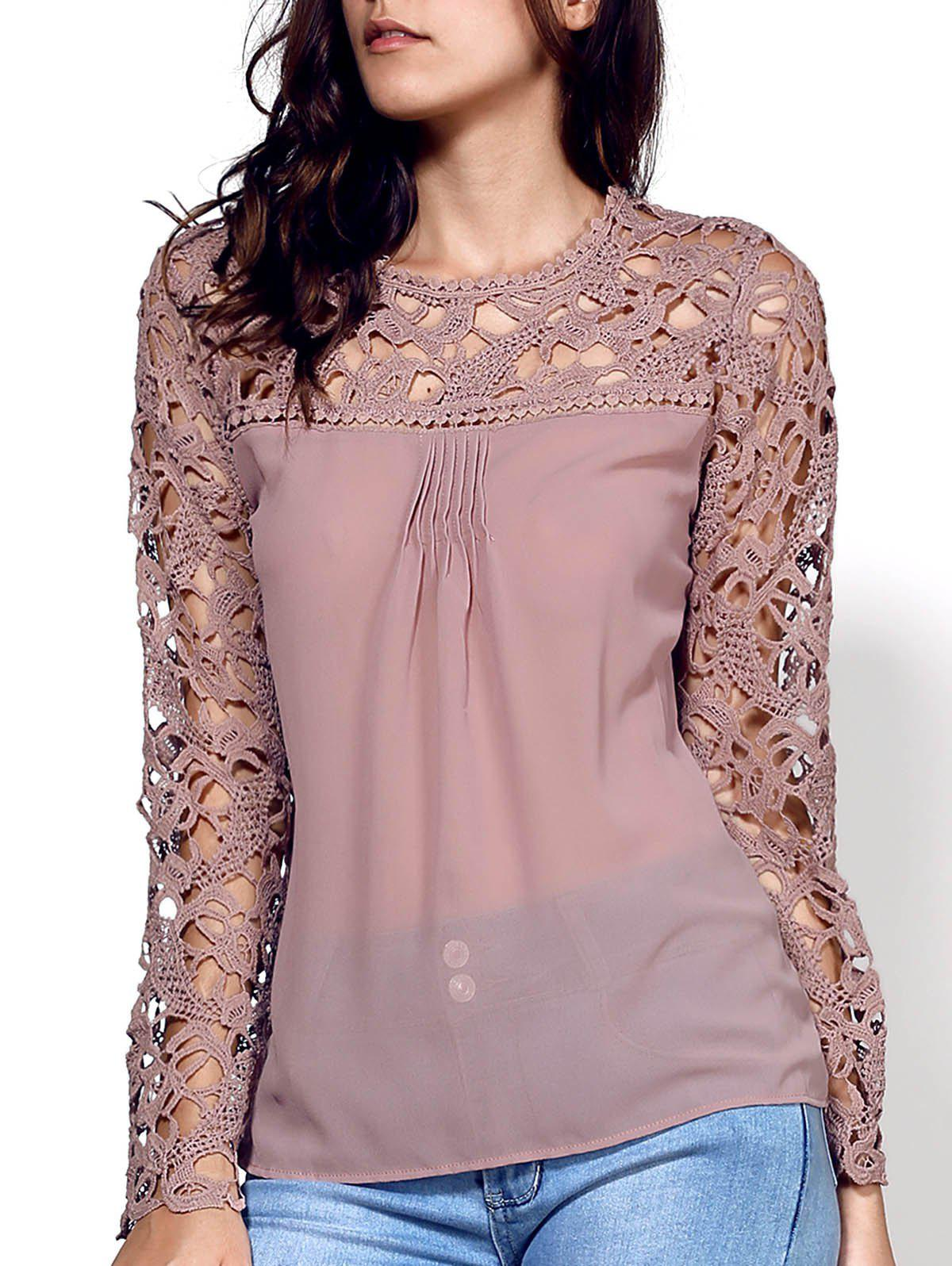 Stylish Scoop Neck Long Sleeve Lace Embroidery Spliced Women's Blouse - KHAKI S