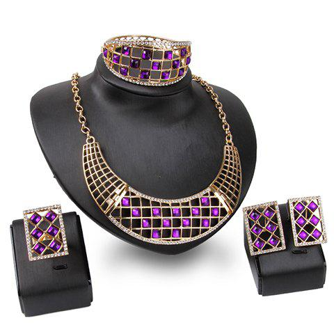 A Suit of Geometric Rhinestone Necklace Bracelet Ring and Earrings - GOLDEN ONE-SIZE