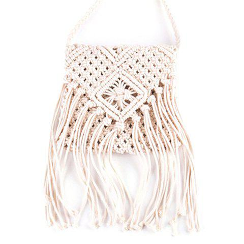 Casual Fringe and Weaving Design Women's Crossbody Bag - WHITE