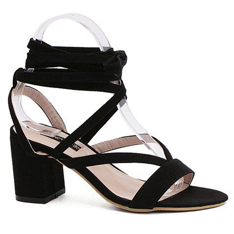 Trendy Lace-Up and Solid Colour Design Women's Sandals - BLACK 39