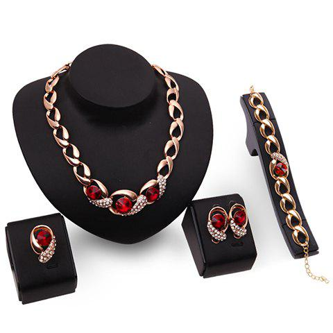 A Suit of Delicate Faux Ruby Rhinestone Necklace Bracelet Ring and Earrings For Women