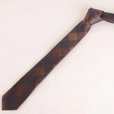 Stylish Big Checkered Pattern Dark Color 6CM Width Men's Tie - LIGHT COFFEE