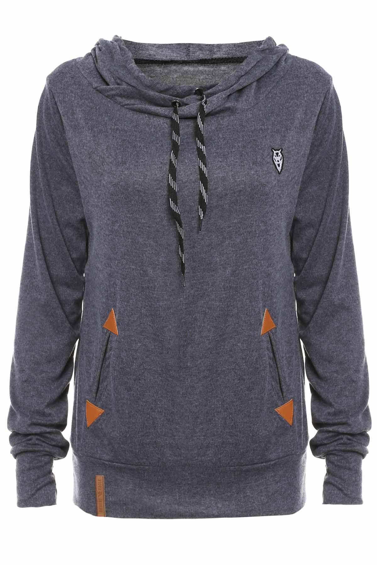 Stylish Hooded Long Sleeve Embroidered Pocket Design Women's Hoodie - DEEP GRAY S