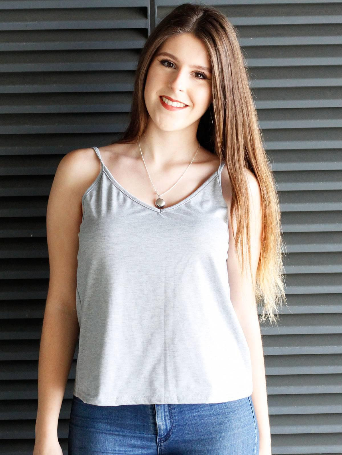 Charming Solid Color Low-Cut Spaghetti Strap Tank Top For Women - GRAY M