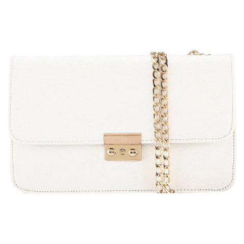 Stylish Chain and Solid Color Design Women's Crossbody Bag - WHITE