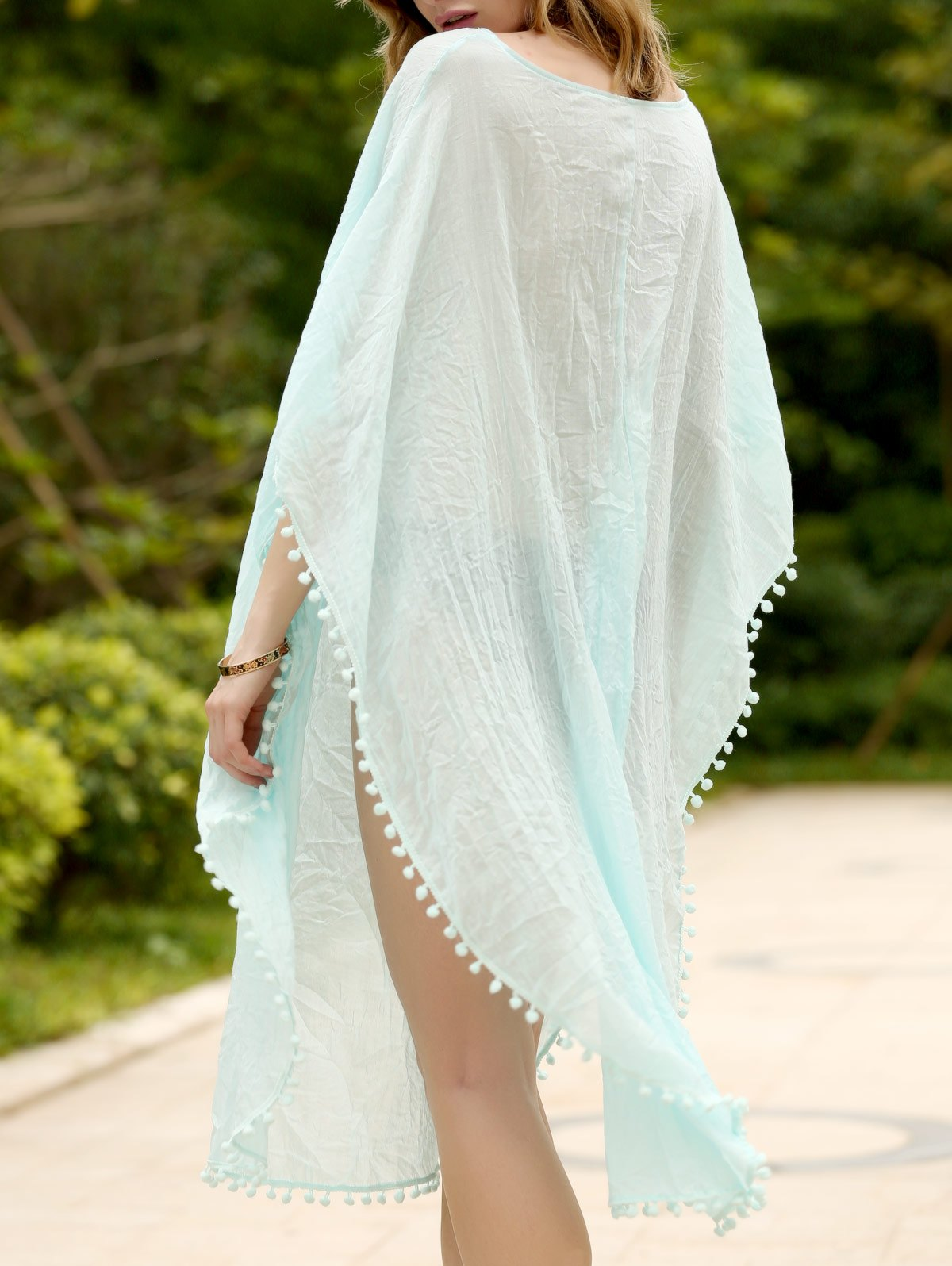 Trendy Loose Candy Color Furcal Beach Cover-UP For Women - LIGHT BLUE ONE SIZE(FIT SIZE XS TO M)
