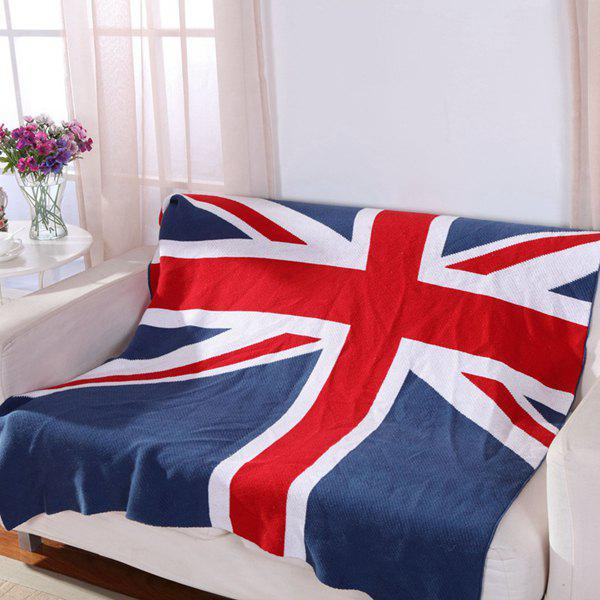 High Quality British Style Union Jack Pattern Cotton Knitted Blanket - COLORMIX W35.43INCH*L43.3INCH