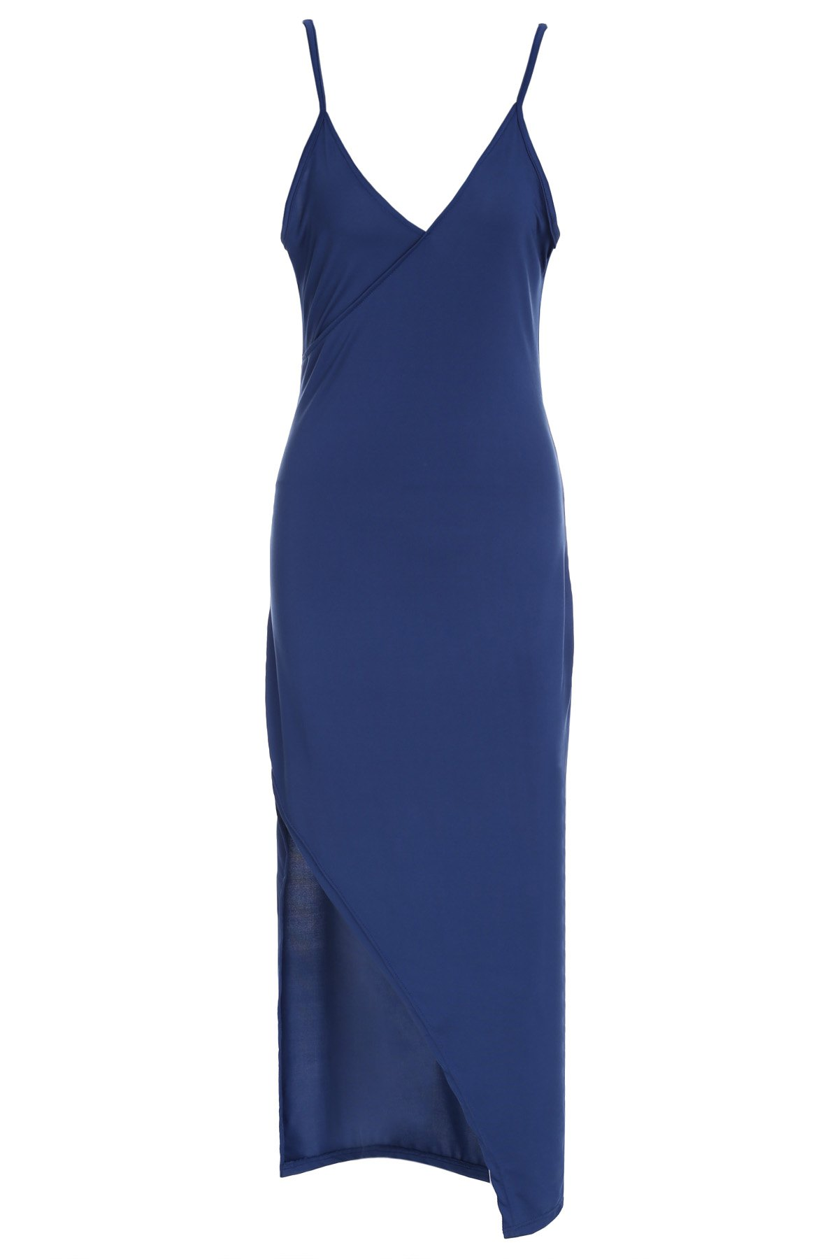Sexy Solid Color Spaghetti Strap High Slit Sleeveless Dress For Women - CADETBLUE S