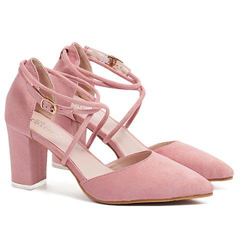 Stylish Cross-Straps and Pointed Toe Design Women's Pumps - PINK 39