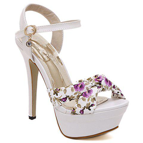 Trendy Stiletto Heel and Floral Print Design Women's Sandals - PURPLE 38