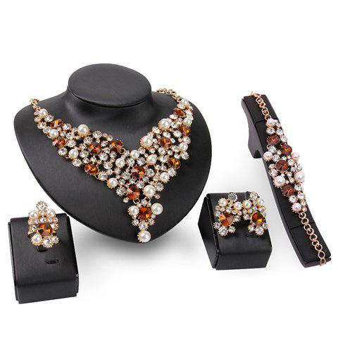 A Suit of Gorgeous Faux Pearl Rhinestone Necklace Bracelet Ring and Earrings For Women