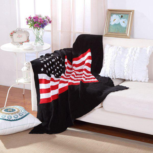 Hot Sale Stars and Stripes Pattern Cotton Knitted Blanket - COLORMIX W43.3INCH*L51.18INCH