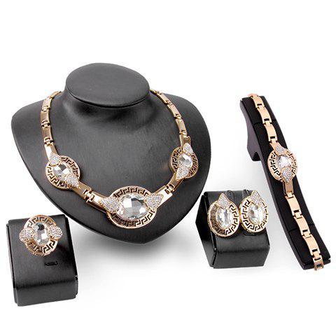 A Suit of Graceful Water Drop Rhinestone Necklace Bracelet Ring and Earrings For Women