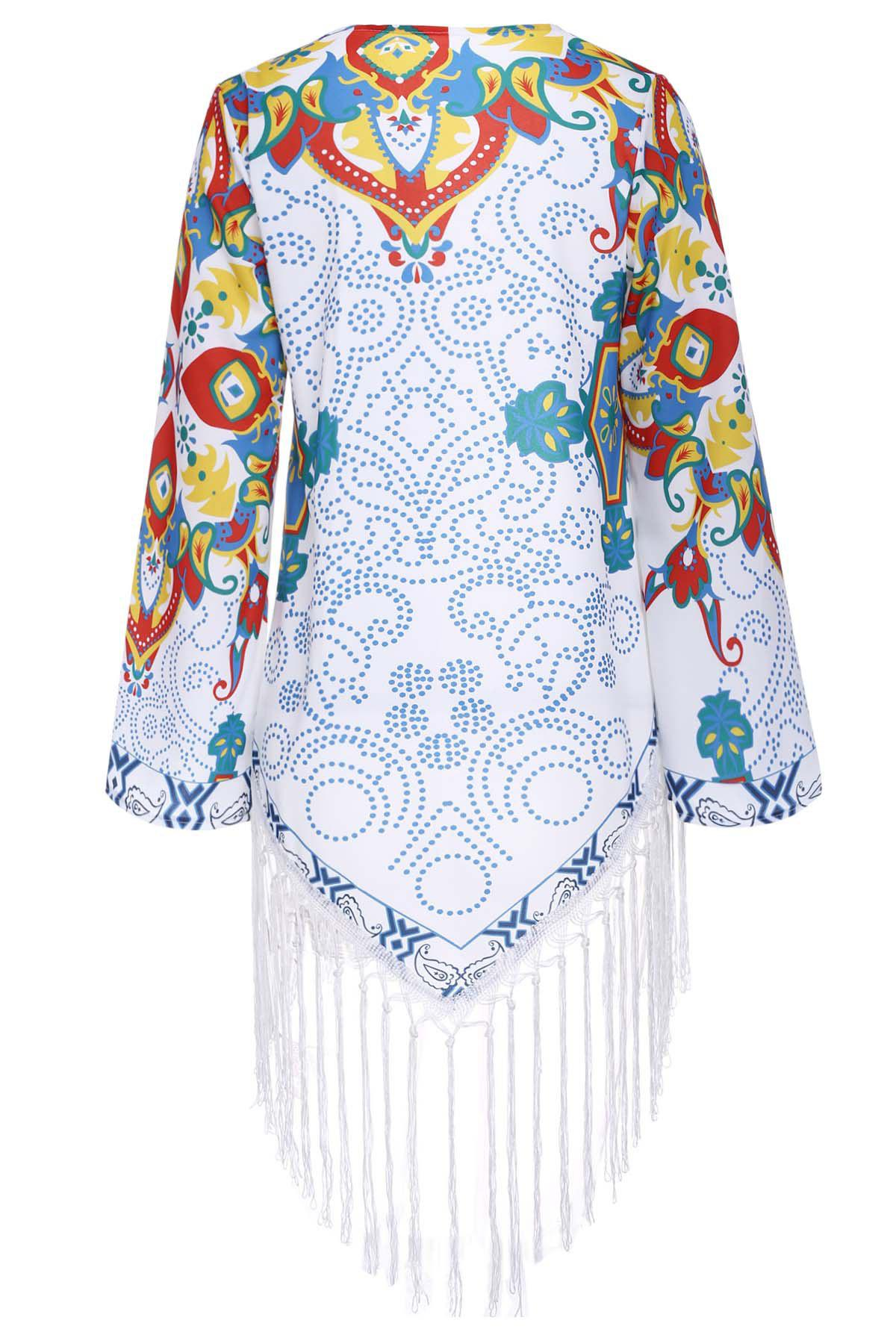 Vintage Collarless 3/4 Sleeve Fringe Design Floral Print Women's Kimono - COLORMIX M