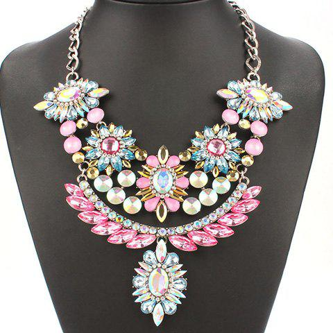 Artificial Gems Crystals Flowers Oval Necklace - COLORMIX