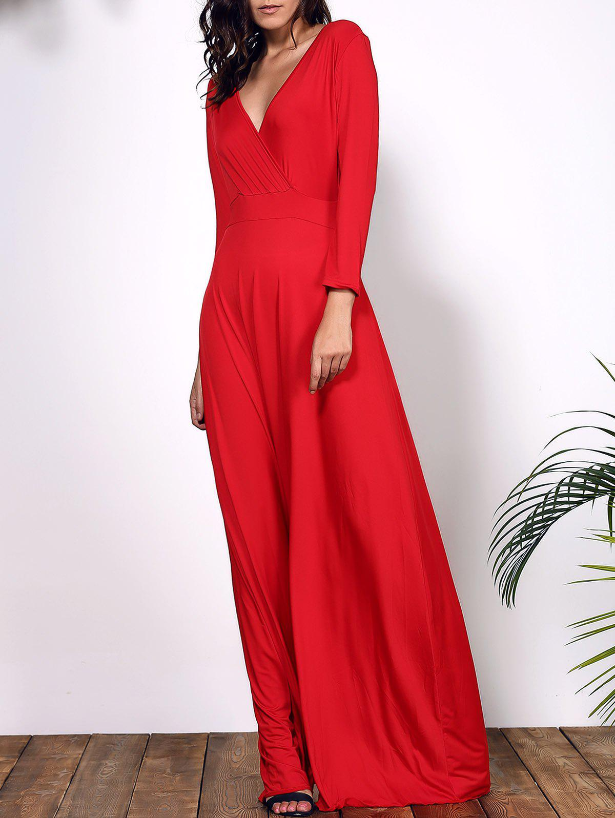 Women's Plunging Neckline 3/4 Sleeve Plus Size Solid Color Dress - RED 3XL