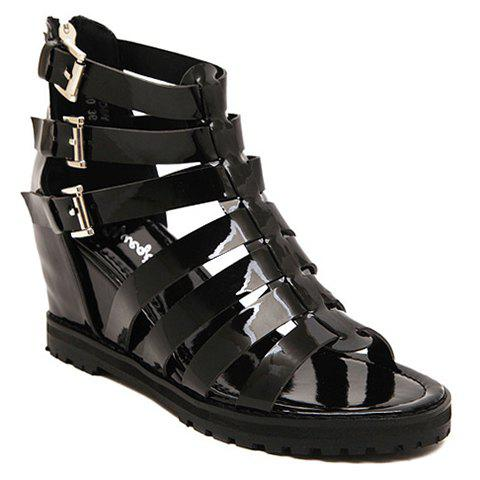 Stylish Patent Leather and Buckles Design Women's Sandals - BLACK 38