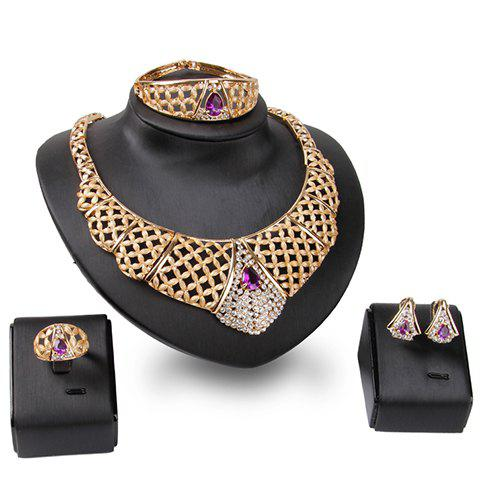 A Suit of Delicate Faux Amethyst Necklace Bracelet Ring and Earrings For Women