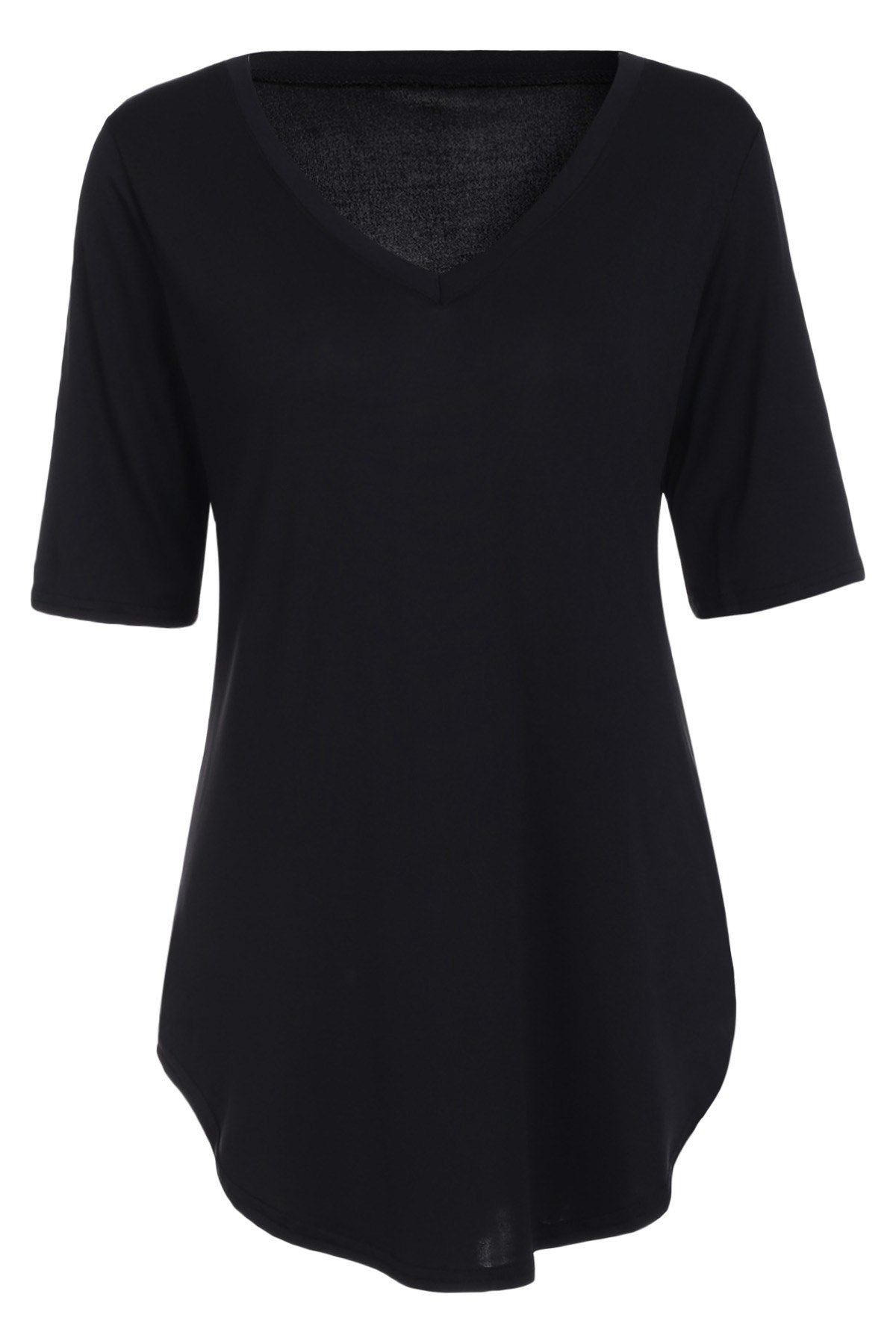 Casual Asymmetrical Short Sleeve V-Neck Solid Color Women's T-Shirt - BLACK L