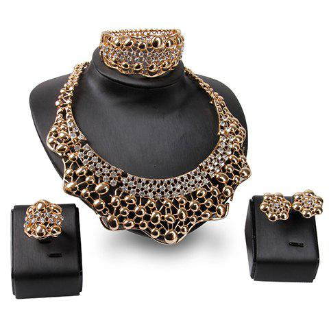 A Suit of Hollow Out Necklace Bracelet Ring and Earrings - GOLDEN ONE-SIZE