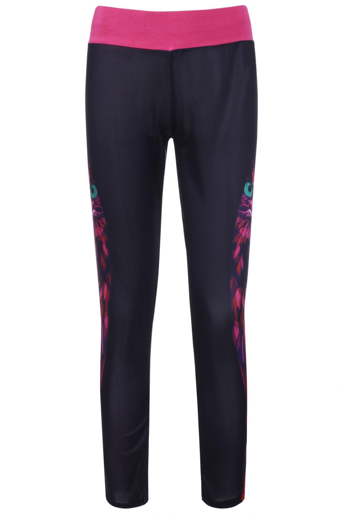 Women's Stylish Owl Print Color Block Elastic Stretchy Yoga Pants - COLORMIX ONE SIZE(FIT SIZE XS TO M)